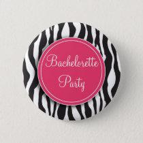Pink Zebra Print Bachelorette Party Button