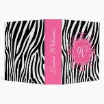 Pink & Zebra Print Binder