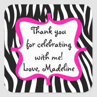 Pink Zebra Print Birthday Party Favor Square Sticker