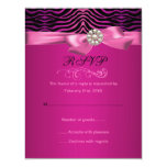 Pink Zebra Print & Bow Birthday RSVP Card Personalized Invite
