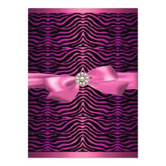 Pink Zebra Print & Bow Sweet16 Birthday Invite