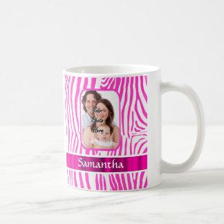 Pink zebra print classic white coffee mug