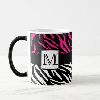 Pink Zebra Print Custom Monogram Mug