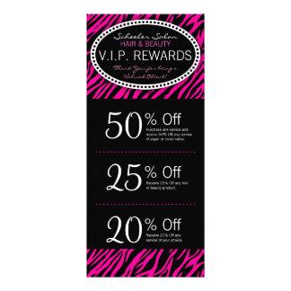 Pink Zebra Print Custom Salon Coupons Specials Rack Card Design