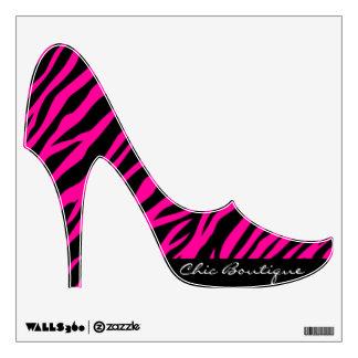 Pink Zebra Print Custom Text Stiletto Heels Decor Room Sticker