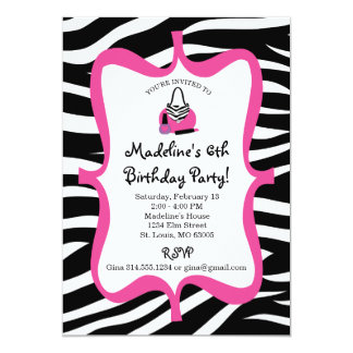 Pink Zebra Print Diva Spa Birthday Card