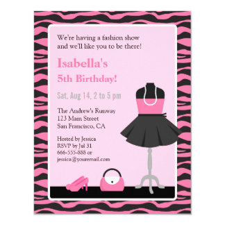Fashion show invitations announcements zazzle pink zebra print fashion show girls birthday party card stopboris Choice Image