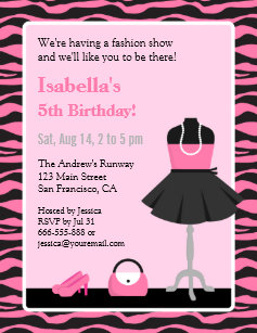 Pink Zebra Print Fashion Show Girls Birthday Party Invitation