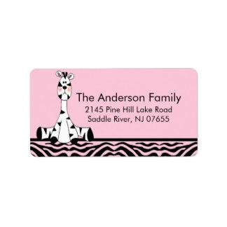 Pink Zebra Print Giraffe Address Label