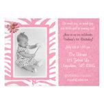 Pink Zebra Print Girls Birthday Invitation
