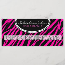 Pink Zebra Print Hair and Beauty Gift Certificate