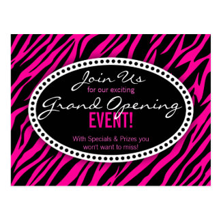 Pink Zebra Print Hair Salon Grand Opening Postcard