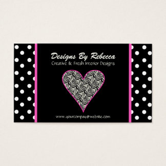 Pink Zebra Print Heart & Polka Dots Business Card