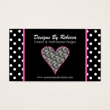 Professional Business Pink Zebra Print Heart & Polka Dots Business Card