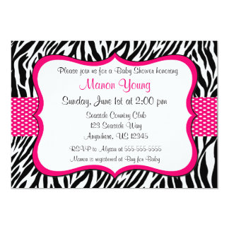 Pink Zebra Print Invitaiton 5x7 Paper Invitation Card