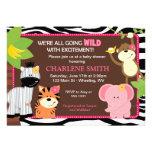 Pink Zebra Print Jungle Baby Shower Invitations