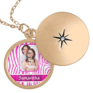 Pink zebra print locket necklace