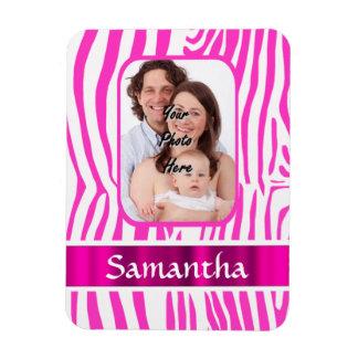 Pink zebra print magnet