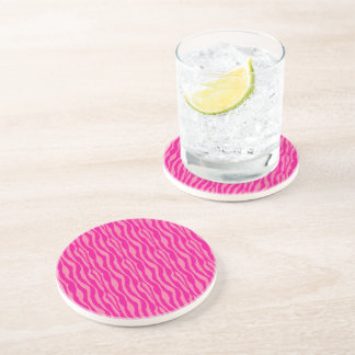 Pink Zebra Print Pattern Coaster
