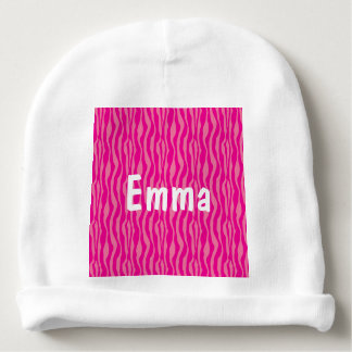 Pink Zebra Print Pattern Customizable Baby Beanie