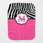 Pink Zebra Print Personalized Burp Cloth