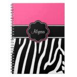 Pink Zebra Print Personalized Journal Spiral Notebook