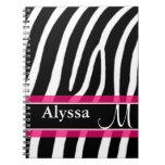 Pink Zebra Print Personalized Note Books