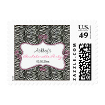 pink Zebra Print Personalized Stamps
