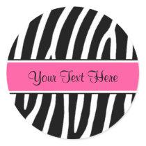 Pink Zebra Print Personalized Stickers