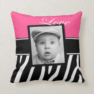 Pink Zebra Print Photo Pillow