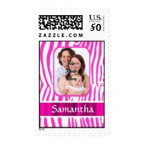 Pink zebra print postage