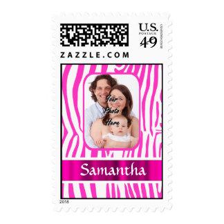 Pink zebra print postage stamp