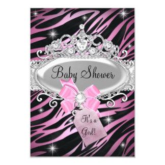Pink Zebra Print & Princess Tiara Baby Shower 3.5x5 Paper Invitation Card