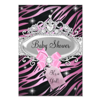 Pink Zebra Print & Princess Tiara Baby Shower Card
