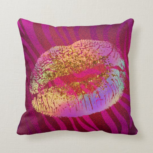 Pink Zebra Print Rainbow Glitter Lips Kiss Custom Throw Pillow Beauteous Pink Zebra Print Decorative Pillows