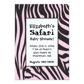 Pink Zebra Print Safari Shower Invitations