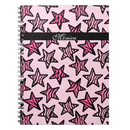 Pink zebra print stars spiral note book