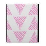 Pink Zebra Print Stripes, in Pattern of Triangles. iPad Folio Cases