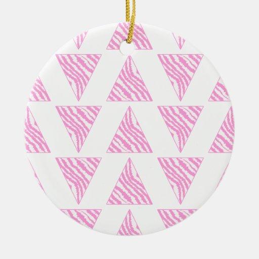 Pink Zebra Print Stripes, in Pattern of Triangles. Ornament