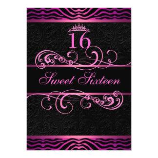Pink Zebra Print & Swirl Sweet16 Birthday Invite