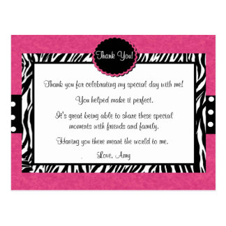 Pink Zebra Print Thank You Postcard
