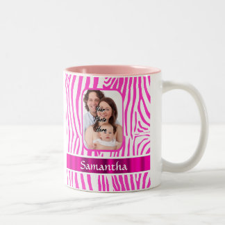 Pink zebra print Two-Tone coffee mug