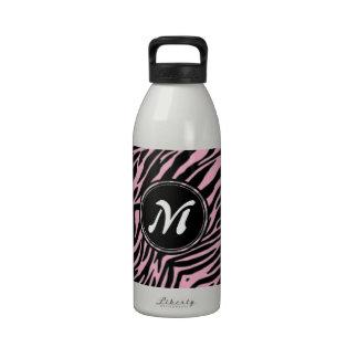 Pink Zebra Print Water Bottle