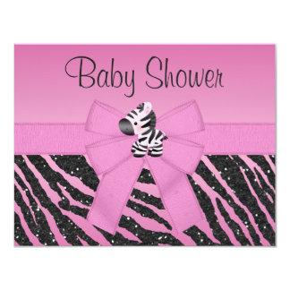 Pink Zebra Printed Bow & Butterflies Baby Shower Card