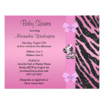 Pink Zebra Printed Bow & Butterflies Baby Shower Custom Announcements