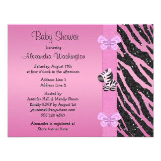 Pink Zebra Printed Bow & Butterflies Baby Shower Custom Announcements