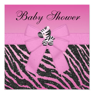 Pink Zebra Printed Bow & Glitter Look Baby Shower Card