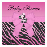 Pink Zebra Printed Bow & Glitter Look Baby Shower Invites