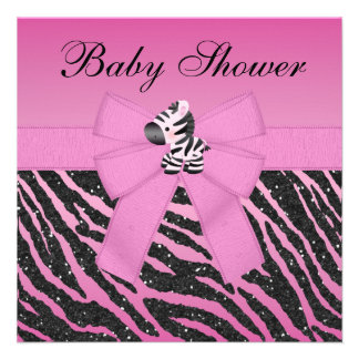 Pink Zebra Printed Bow Glitter Look Baby Shower Invites