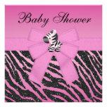 Pink Zebra Printed Bow & Glitter Look Baby Shower Invites